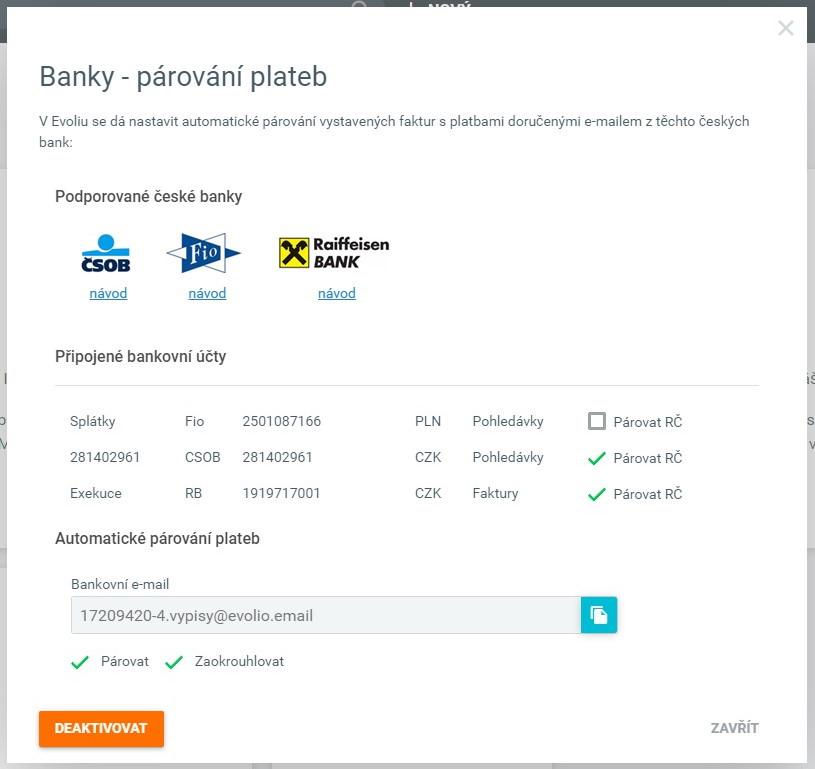 Evolio - Import plateb z banky